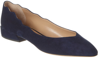 Chloé Laurena Scalloped Suede Ballerina Flat