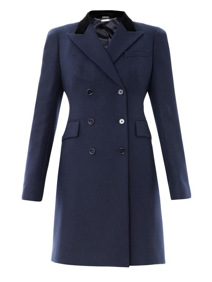 Alexander McQueen Velvet-collar wool coat