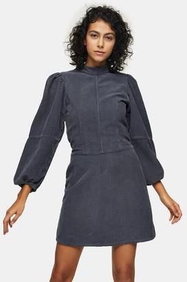 Topshop Womens Grey Denim Corduroy Babydoll Dress - Charcoal