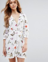 Oh My Love Mini Long Sleeve Dress With Button Detail