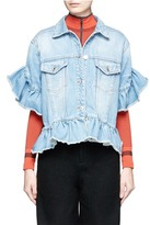 MSGM Ruffle mid sleeve denim jacket