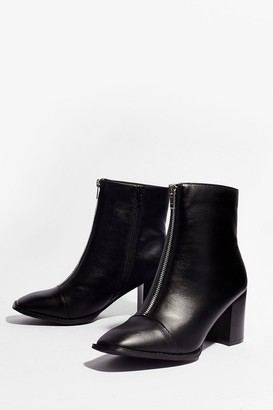 Nasty Gal Womens Zip the Details Faux Leather Heeled Boots - Black - 5, Black