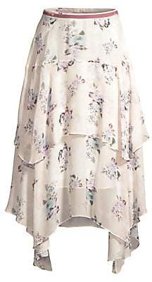 LoveShackFancy Women's Alex Floral Handkerchief Midi Skirt