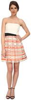 ABS by Allen Schwartz Strapless Cocktail Dress w/ Stripe Skirt