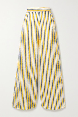 Three Graces London Filippa Striped Cotton And Linen-blend Gauze Wide-leg Pants - Yellow