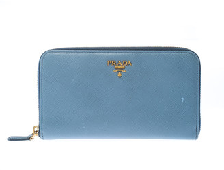 Prada Powder Blue Saffiano Metal Leather Zip Around Wallet