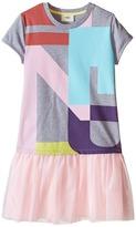 Fendi Logo T-Shirt Dress with Tulle Detail (Little Kids)