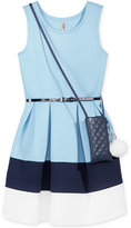 Beautees 2-Pc. Colorblocked Dress & Purse Set, Big Girls (7-16)