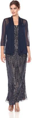 R & M Richards R&M Richards Women's Long Embellished Sequins Jacket Dress Missy