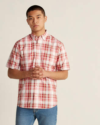 Farah Button-Down Plaid Short Sleeve Polo