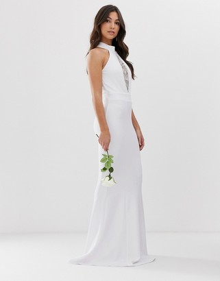 City Goddess bridal halterneck fishtail maxi dress with lace detail