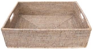 Artifacts Trading Company Artifacts Rattan Rectangular Basket w/ Cutout Handles, White Wash,