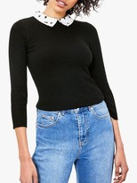 Oasis Contrast Collar Jumper, Black/White