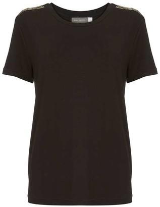 Mint Velvet Black Beaded Military T-Shirt