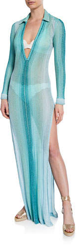Missoni Mare Striped Long-Sleeve Collared Coverup Dress