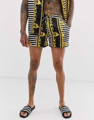Urban Threads satin shorts in baroque print-Multi
