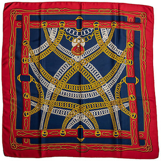 One Kings Lane Vintage Hermes Maillons Chain Link Scarf - Vintage Lux - red/navy/gold
