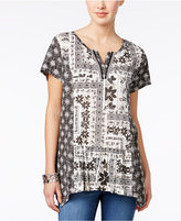 Style&Co. Style & Co Petite Mixed-Print Handkerchief-Hem Top, Only at Macy's