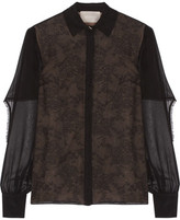 Jason Wu Cape-Effect Silk-Chiffon And Lace Blouse