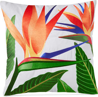 "Charter Club Damask Designs Birds of Paradise Embroidered 18"" Square Decorative Pillow, Bedding"