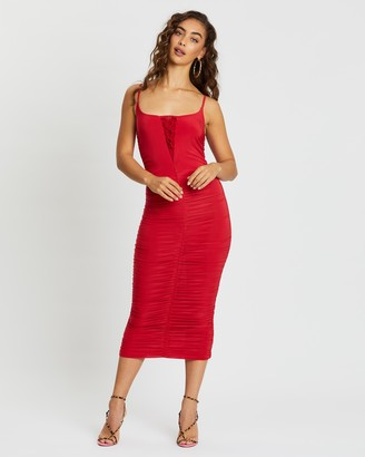Missguided Slinky Ruched Lace-Up Midi Dress