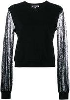 McQ by Alexander McQueen lace detail blouse - women - Cotton/Polyamide - M