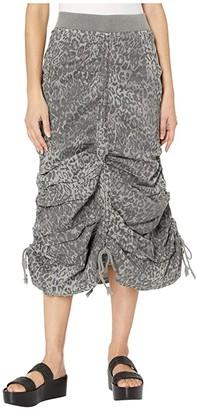 XCVI Leopard Maxi Skirt in Lynx Printed Poplin (Grey Mist) Women's Skirt