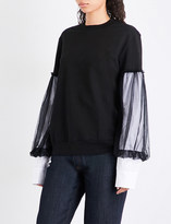Clu Contrast-sleeve cotton sweatshirt