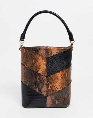 Truffle Collection mixed snake shoulder bag