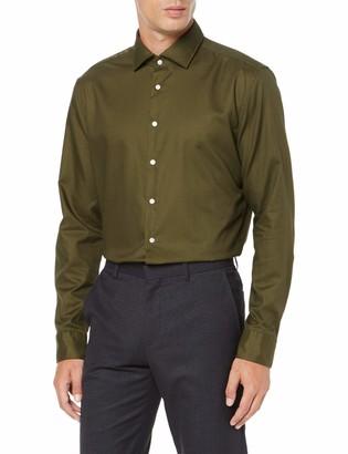 Seidensticker Men's Slim Fit Langarm mit Spread Kent-Kragen Bugelleicht Uni-Smart Business by 100% Ba Formal Shirt