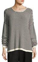 Eileen Fisher Cozy Striped Box Top, Soft White/Black, Plus Size