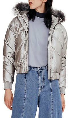 Noize Outerwear Co. Chevron Faux Fur-Trimmed Quilted Bomber Jacket