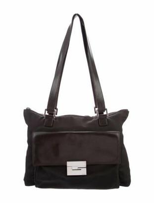Gucci Vintage Nylon Leather-Trimmed Shoulder Bag silver