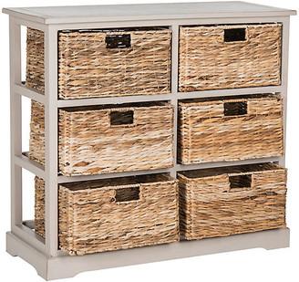 One Kings Lane Kera 6-Basket Storage Unit - Gray - frame, distressed gray; baskets, natural