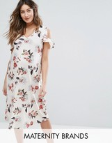 Bluebelle Maternity Floral Dress With Ruffle Shoulder
