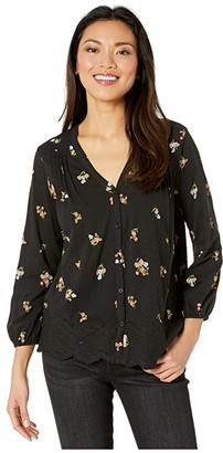 Lucky Brand Long Sleeve V-Neck Button-Up Printed Peasant Top (Black Multi) Women's Clothing