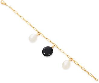 Cvc Stones Valor And Pearl 18K Gold Charm Bracelet