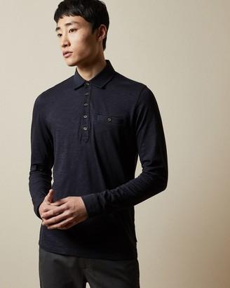 Ted Baker Long Sleeved Slub Polo Shirt