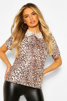 boohoo Leopard Peter Pan Detail T-shirt