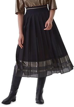 Brunello Cucinelli Pleated Midi Skirt