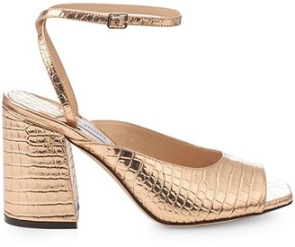 Jimmy Choo Jassidy Croc-Embossed Metallic Leather Sandals