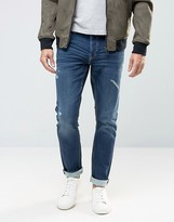ONLY & SONS Slim Jog Jeans in Mid Blue Wash and Rip Detail