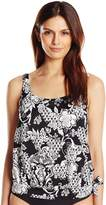 Penbrooke Women's Intermingle Tie Side Blouson Tankini