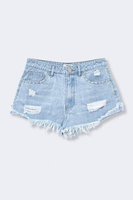 Forever 21 Distressed Denim Rhinestone-Trim Shorts
