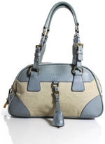 Prada Beige Canvas Gold Tone Light Blue Leather Accent Bowling Satchel Handbag