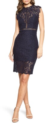 Bardot Lace Sheath Cocktail Dress