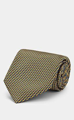 Brioni Men's Geometric-Print Silk Satin Necktie - Yellow