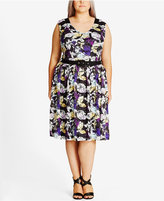 City Chic Trendy Plus Size Printed Lace Fit & Flare Dress