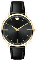 Movado Ultra Slim Leather Strap Watch, 35mm
