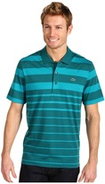 Lacoste S/S Jersey Graded Stripe Polo Shirt (Ivy/Malachite) - Apparel